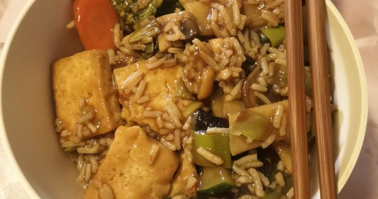 Szechuan tofu and vegetables with rice