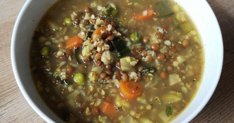 Lentil minestrone with buckwheat